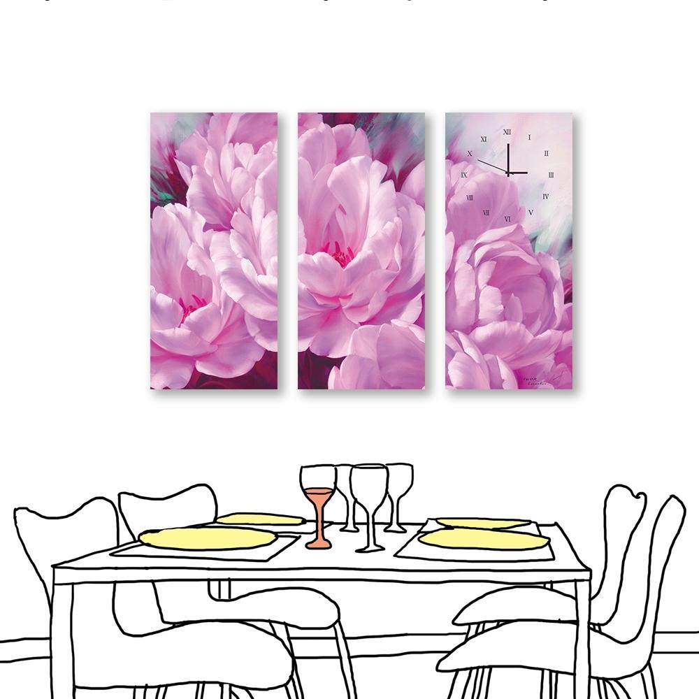 24mama-三聯式 粉色花卉 時鐘掛畫 油畫風無框畫 23X50cm-花開