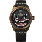 預購 elegantsis 限量 S-2T反潛鯊魚機 2.0 牛皮機械錶 黑x金框 45.5mm