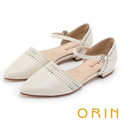 ORIN 優雅時尚 幾何洞洞繫踝牛皮尖頭低跟鞋-白色