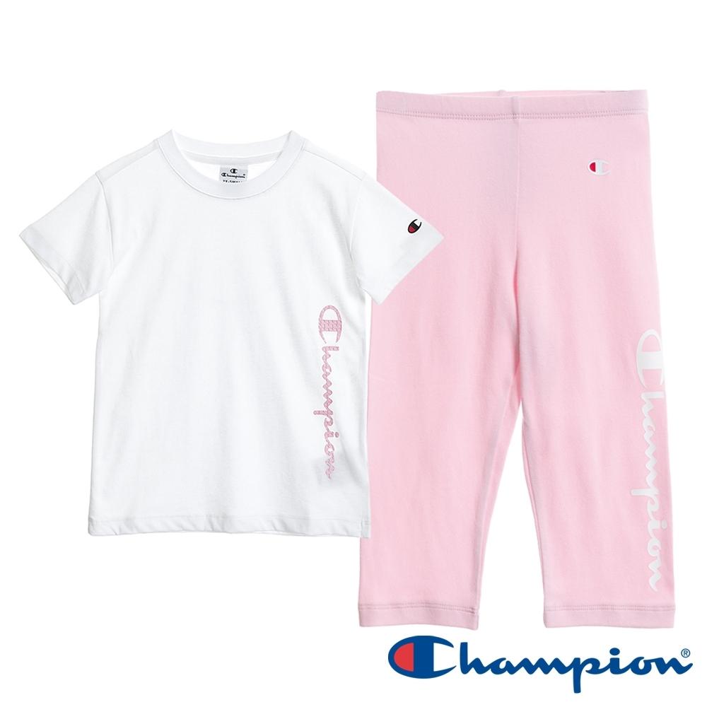 Champion EU童短TEE長褲套裝 白x粉紅