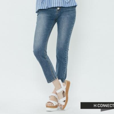 H:CONNECT 韓國品牌 女裝- 高腰排扣九分牛仔褲-藍