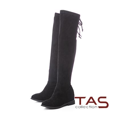 TAS後綁帶蝴蝶結絨布美腿膝上靴–氣質黑