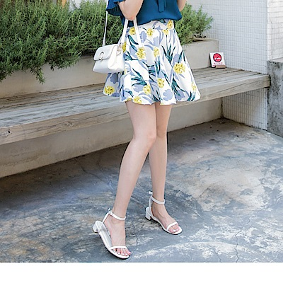 後腰鬆緊花朵印花緹花面料A字傘襬短裙-OB大尺碼