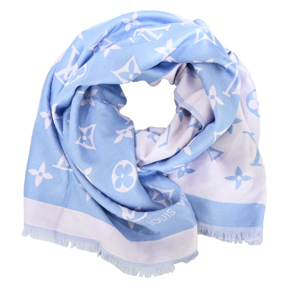 Louis Vuitton Miss LV 雙色Monogram圖案混紡披巾(淺藍色)