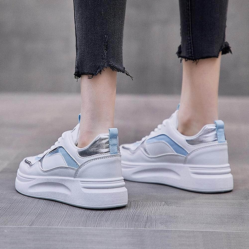 LN  現+預 韓版百搭厚底鬆糕小白鞋(厚底鞋/休閒鞋) (藍色)