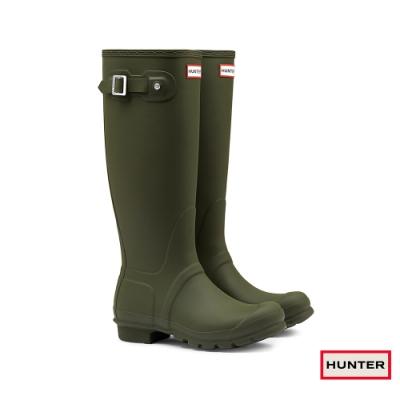 HUNTER - 女鞋-霧面長靴 - 橄欖