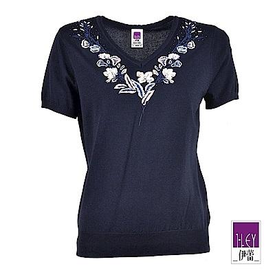 ILEY伊蕾 花卉刺繡珠飾V領針織上衣(藍)