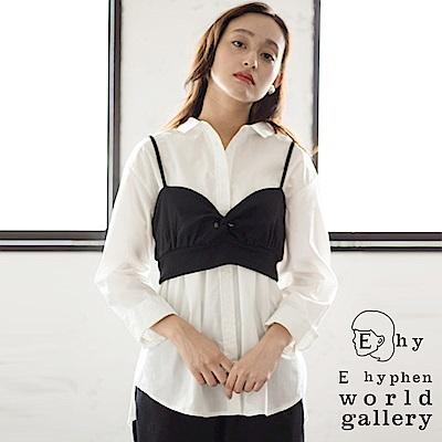 E hyphen 【SET ITEM】短版吊帶背心+素面長版襯衫上衣