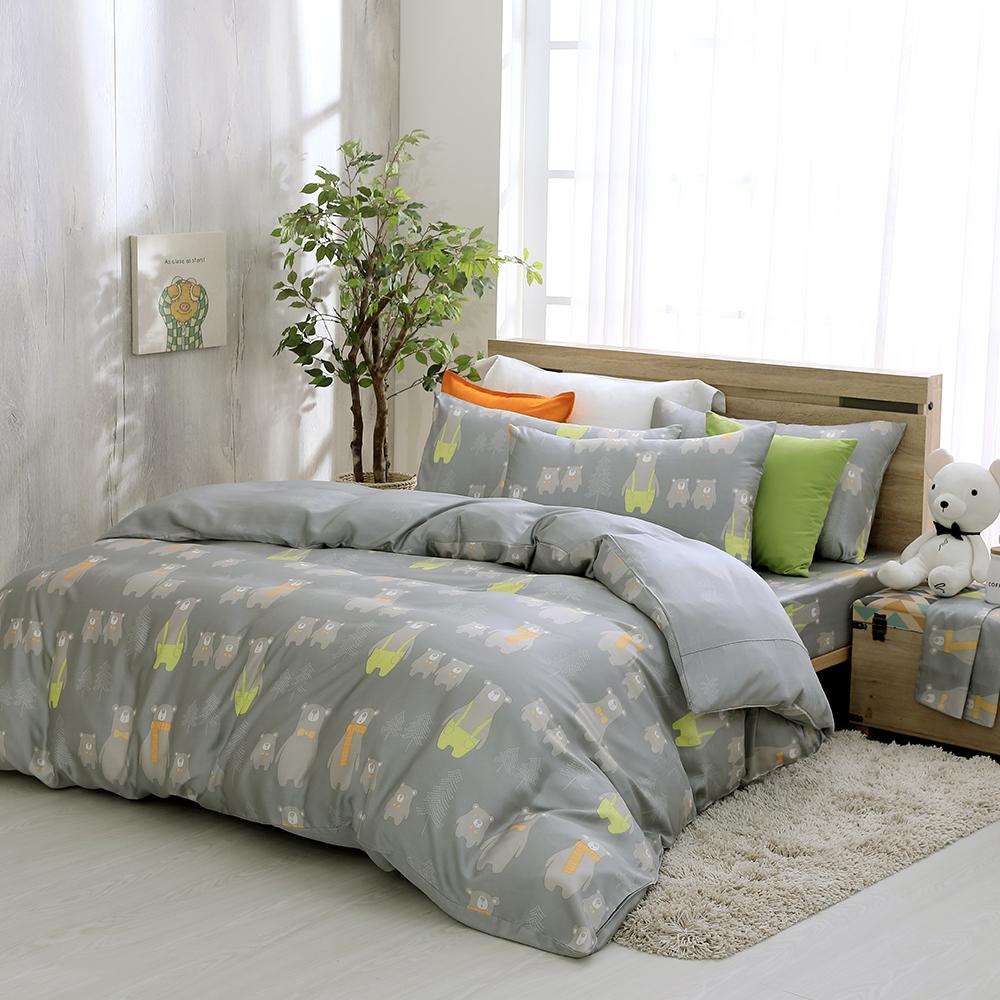 鴻宇 雙人特大床包薄被套組 天絲 萊塞爾 帕丁小熊 台灣製