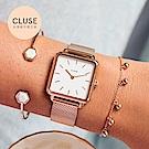 CLUSE LA GARCONNE 方框系列腕錶 (玫瑰金框/白面/玫瑰金米蘭帶)