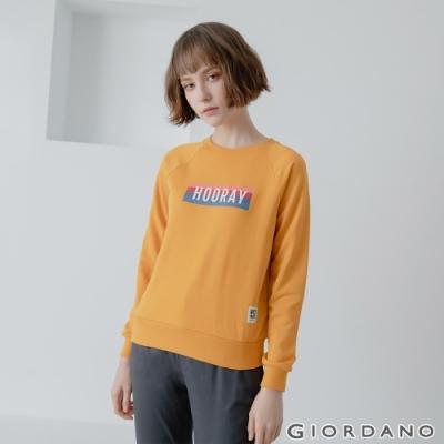 GIORDANO 女裝 Retro Wave復古大學T恤 - 02 向日葵黃