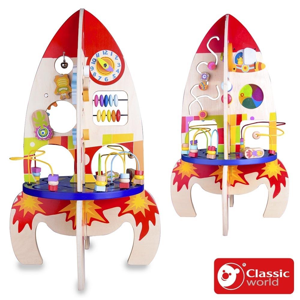 【德國 classic world 客來喜經典木玩】太空火箭撥珠《4121》