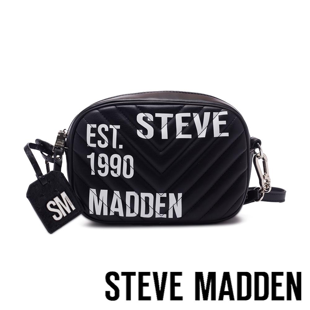 STEVE MADDEN-BPITA 皮質大字壓紋斜肩包-黑色