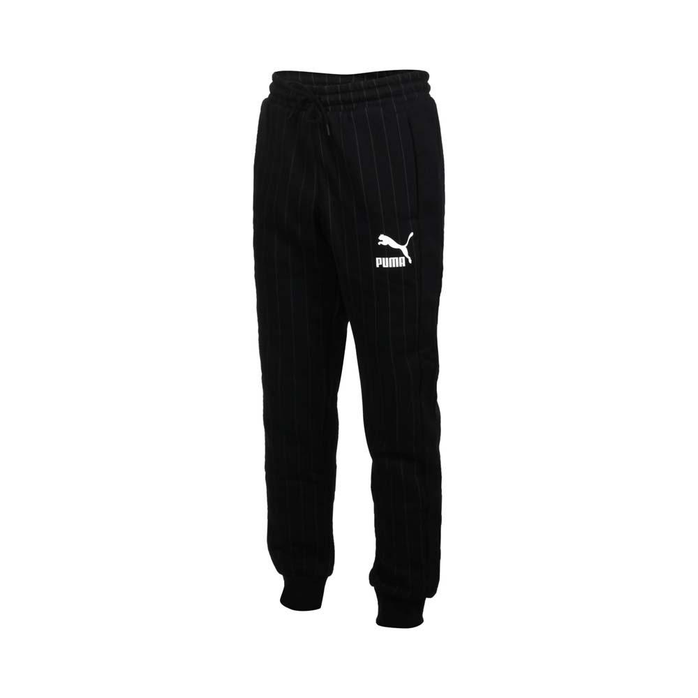 PUMA 男流行系列內刷毛條紋運動長褲-歐規 休閒 針織 保暖 53017801 黑白