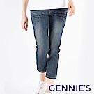 Gennies專櫃-百搭輕洗色一體成型牛仔七分褲-藍(T4F55)
