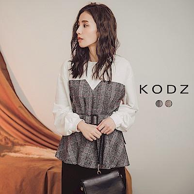 東京著衣-KODZ 優質女孩毛尼格紋拼接棉質上衣-S.M.L(共二色)
