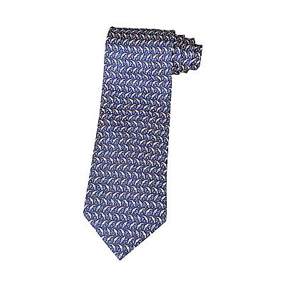 HERMES愛馬仕TWILLBI PEROCAN緹花LOGO大嘴鳥設計蠶絲領帶(深藍x橘