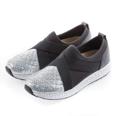 G.Ms. MIT系列-閃布貼鑽交叉鬆緊帶懶人休閒鞋-銀色
