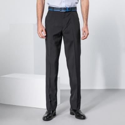 BARONECE 百諾禮士休閒商務  男裝 冰涼紗暗格平口西裝褲-灰黑色(1198845-96)