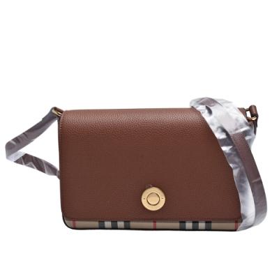 BURBERRY 經典Vintage Check系列小牛皮格紋帆布飾邊斜背包(小-棕褐色)