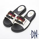 DN 時尚潮感 織帶方飾釦造型大底舒適拖鞋-白