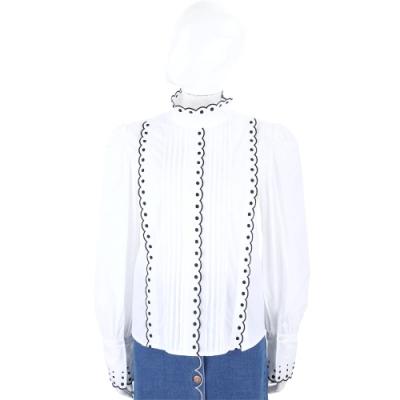 SEE BY CHLOE 花瓣刺繡滾邊白色法式感立領襯衫