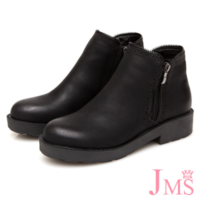 JMS-經典復古擦色造型雙側拉鍊短靴-黑色