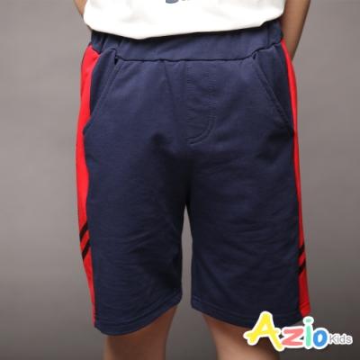 Azio Kids 男童 短褲 側紅線字母印花運動短褲(藍)