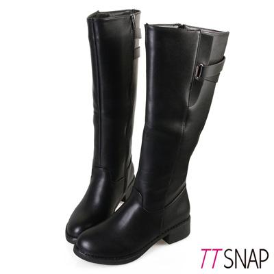 TTSNAP長靴-氣質優雅牛紋平底靴 黑