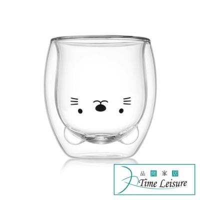Time Leisure 雙層隔熱透明玻璃茶杯 小貓/260ml