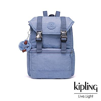 Kipling 溫柔粉藍翻蓋抽繩後背包-EXPERIENCE S