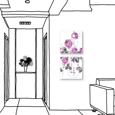24mama掛畫-二聯式 簡約 花卉 時鐘掛畫 無框畫 40X40cm-玫瑰