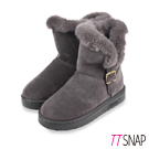 TTSNAP雪靴-仿牛麂皮滾邊鋪毛中筒靴 灰