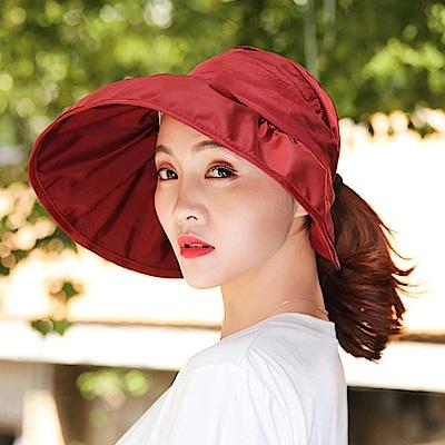 Decoy 加大帽沿 荷葉鏤空防曬遮陽帽 酒紅