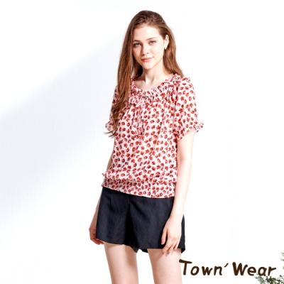 【TOWNWEAR棠葳】花卉綁帶兩穿短版上衣
