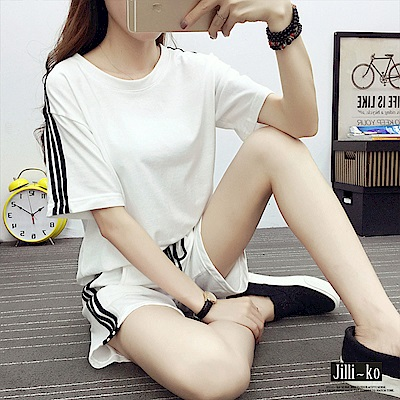 JILLI-KO 兩件套邊條造型運動套裝- 黑/白