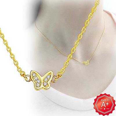 A+黃金 精緻雙邊滿鑽小蝴蝶 999千足黃金鎖骨墜