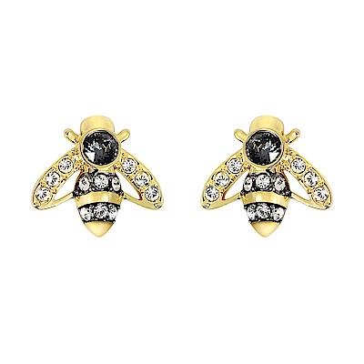 SWAROVSKI 施華洛世奇 璀璨水晶蜜蜂造型金色耳環