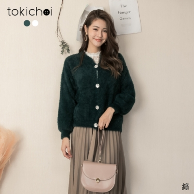 東京著衣 時髦甜心寶石釦造型毛海外套上衣(共二色)