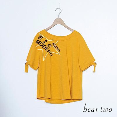 beartwo 側邊英文字大星星印圖收帶袖T恤上衣(二色)
