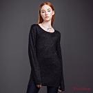 KeyWear奇威名品    優雅幾何織紋針織上衣-黑色