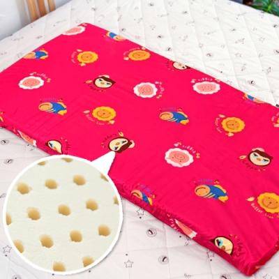 奶油獅 同樂會系列-100%精梳純棉布套+馬來西亞天然乳膠嬰兒床墊-莓果紅60X120cm