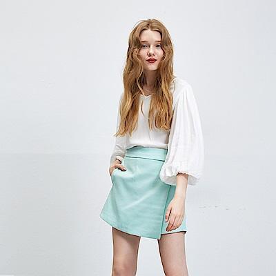 Chaber巧帛 簡約百搭一片式假兩件綠褲裙