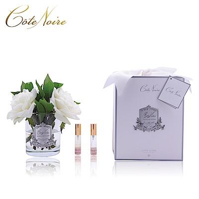 法國 CoteNoire 蔻特蘭 象牙白英國皇家玫瑰香氛花透明瓶