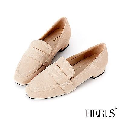 HERLS 全真皮車縫壓線麂皮樂福鞋-米色