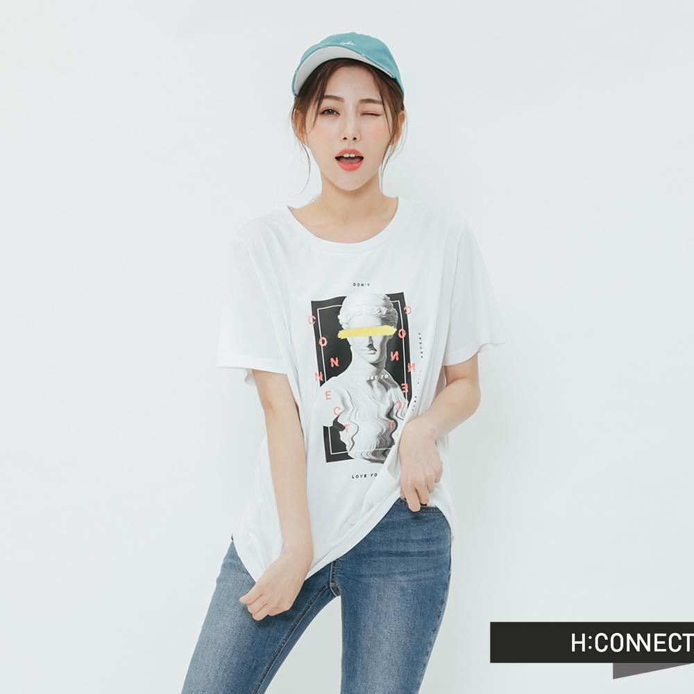 H:CONNECT 韓國品牌 女裝-彩圖人像圓領T-shirt-白