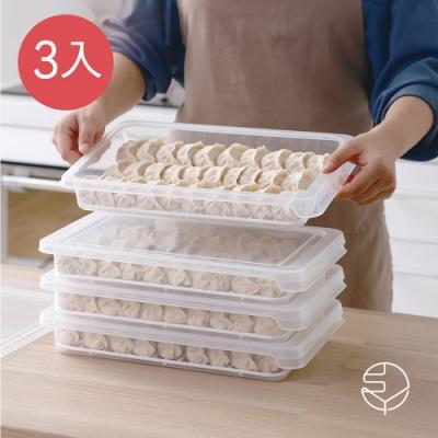 日本霜山 可疊式冰箱水餃/麵點冷藏冷凍保鮮盒-3入