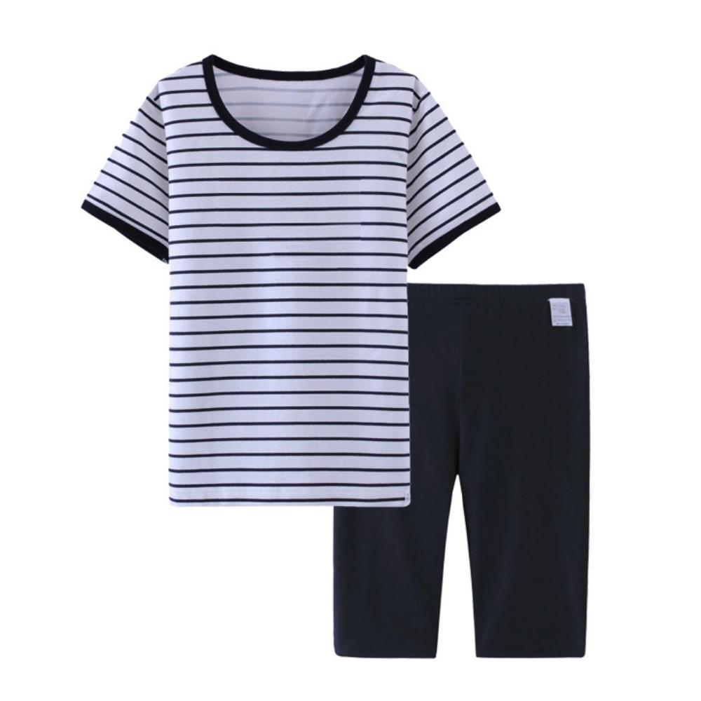 【優貝選】優質帥氣海軍風男童純棉空調必備居家服-條紋