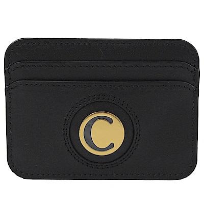CHLOE 金屬C LOGO牛皮簡易卡片夾(黑)