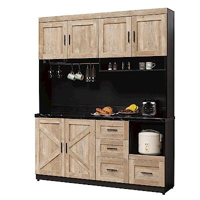 文創集 波普爾時尚5.4尺雲紋石面餐櫃/收納櫃組合-161x41x202cm-免組